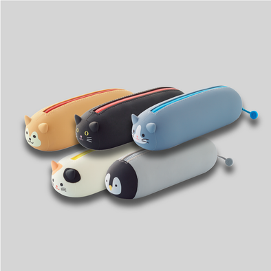 Group shot of all five styles of PuniLabo lying down zipper pouches: Shiba dog, black cat, gray cat, calico cat, and penguin