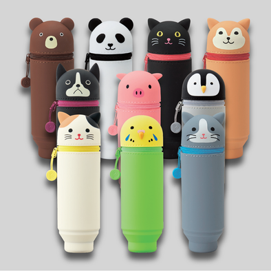 Group shot of all ten styles of PuniLabo Stand Up Pen Cases. Brown bear, panda bear, black cat, shiba dog, Boston terrier, pink pig, penguin, calico cat, parrot, and gray cat shown