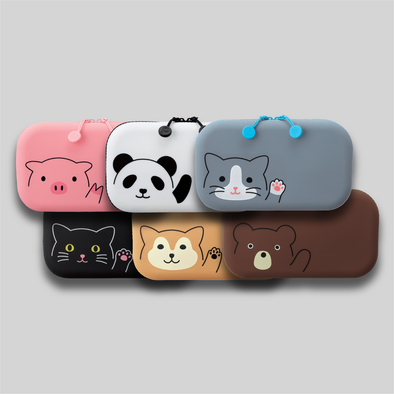 Group shot of six PuniLabo Zipper Pouches: Pink pig, Panda, Gray cat, black cat, Shiba Dog, and Bear