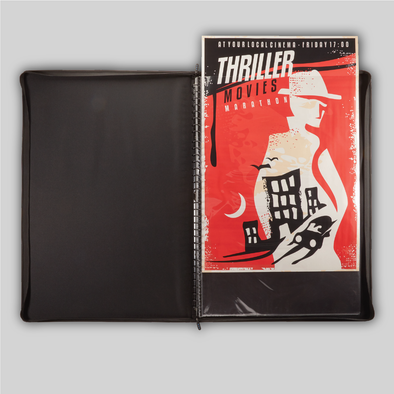 A front shot showing the ProFolio Poster Binder being loaded with a 24x36 sized poster.