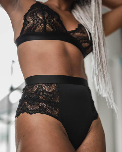 Saboteur High waist String black lace microfiber thong panties