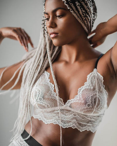 White Noise black bralette top lace soft free bra lingerie