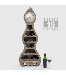 16 Bottle Wooden Wine Rack with Clock