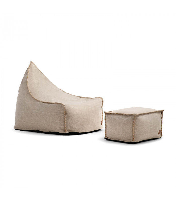 Arcuturs Bean Bag Chair with Footstool - Stone