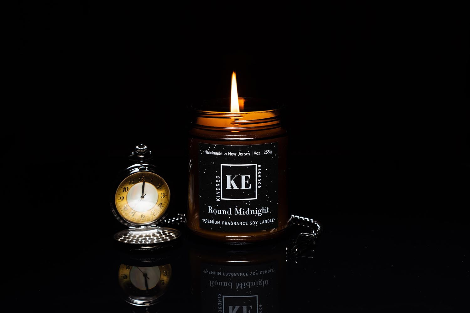 Round Midnight Soy Candle for Men