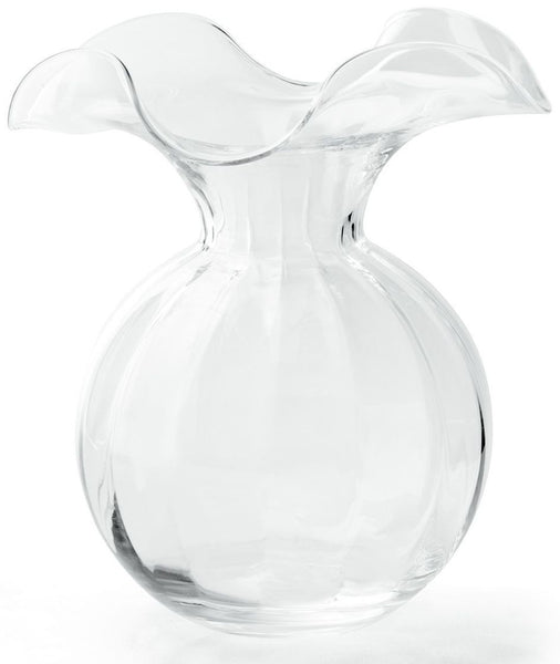 Hibiscus Clear Medium Fluted Vase