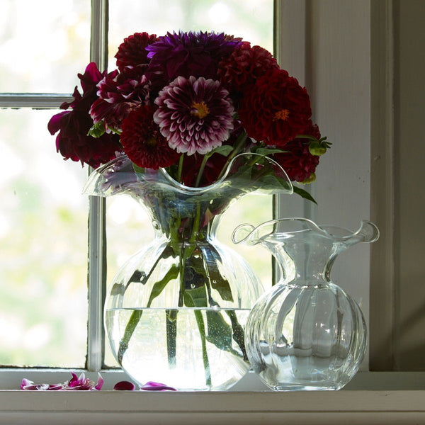 Hibiscus Clear Large Fluted Vase