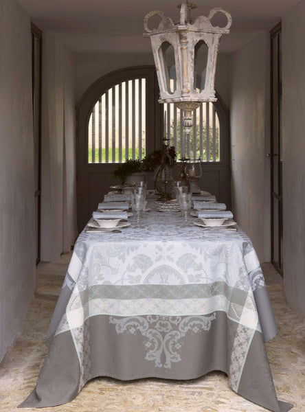Azulejos, Grey Jacquard Tablecloths 1