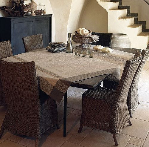 Jacquard France Provence, Beige, Coated Tablecloth