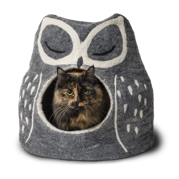 Gray Owl Cat Bed