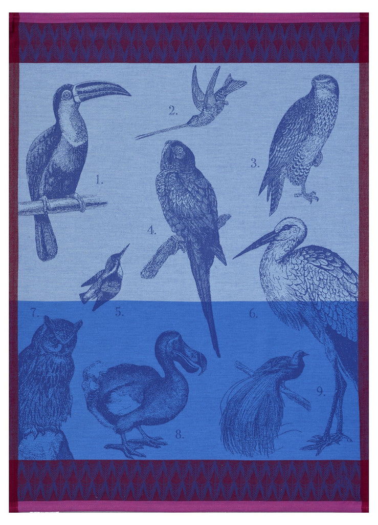 Planche Animaliere Aviary Azure Towel