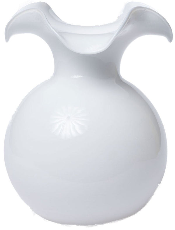 Hibiscus White Large Fluted Vase - r. h. ballard shop