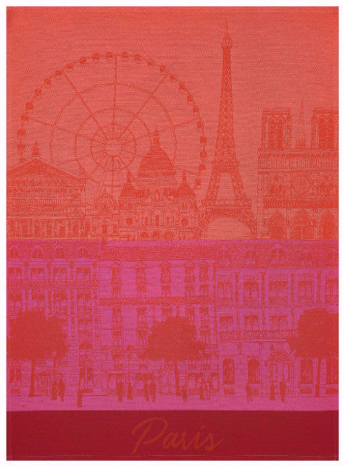 Paris Panorama Red Kiss Towel - r. h. ballard shop