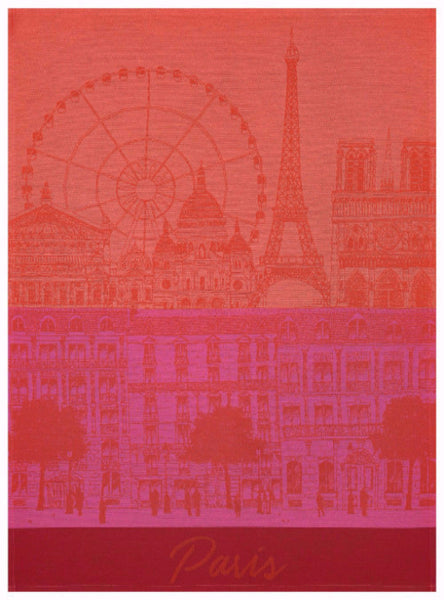 Paris Panorama Red Kiss Towel
