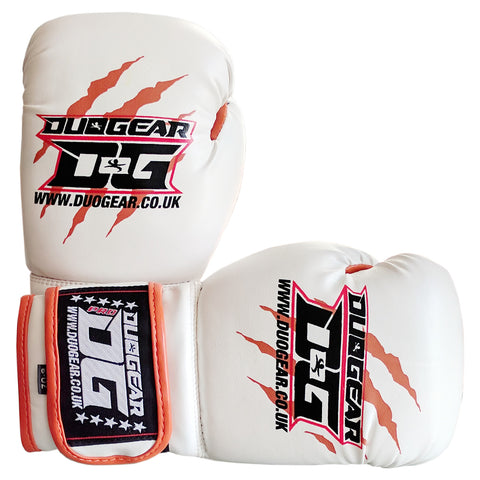 KIDS WHITE THAI-GER MUAY THAI BOXING GLOVES