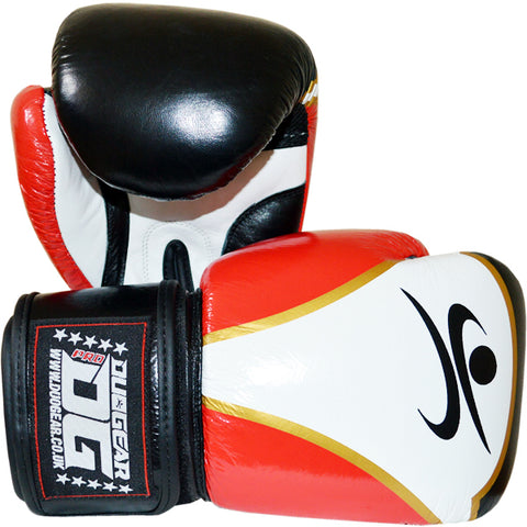 RED AERO LEATHER MUAY THAI BOXING GLOVES