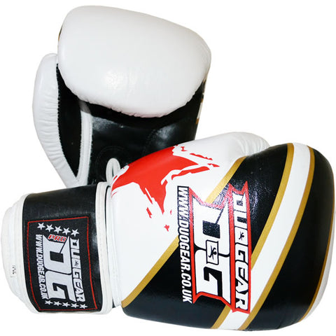 WHITE 'S&S' LEATHER BOXING GLOVES
