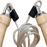 WOODEN SWIVEL HANDLE & WIRED SPORTS SKIPPING ROPE