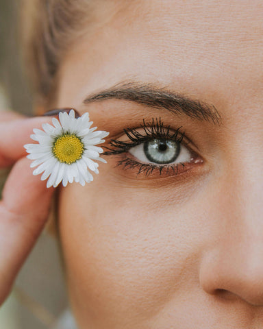 Woman eye with flower