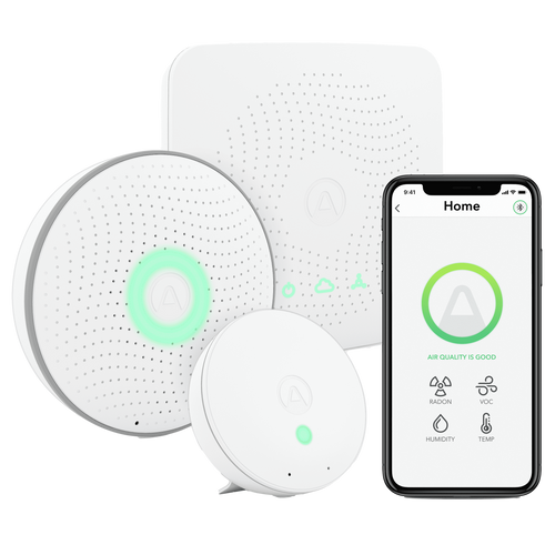 Airthings house kit air quality monitor with phone reporting