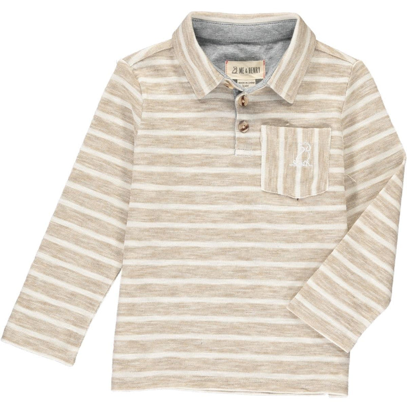 Beige/White Striped Long Sleeve Polo