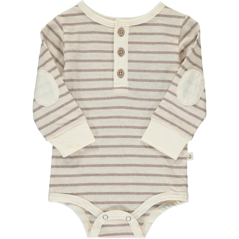 Grey Stripe Henley Onesie