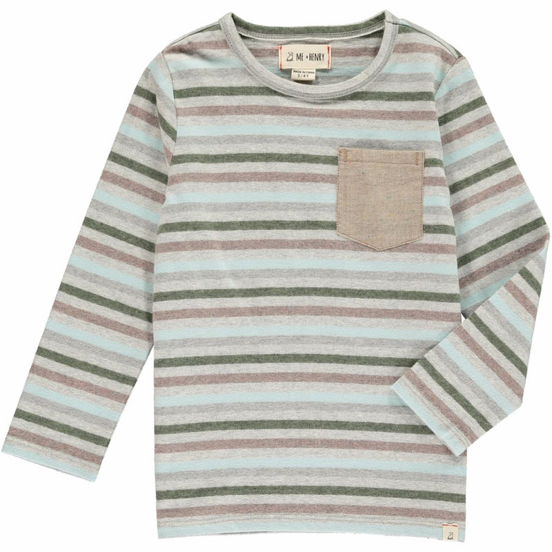 Grey Multi Stripe Long Sleeve Tee