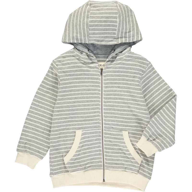 Grey/White Striped Hoodie