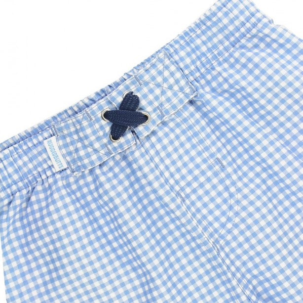 Rugged Butts Cornflower Blue Gingham Swim Trunks