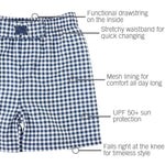 Rugged Butts Navy Gingham Swim Trunks
