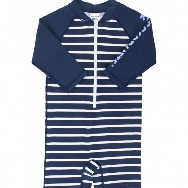 Rugged Butts Navy Stripe Rash Guard Swimsuit
