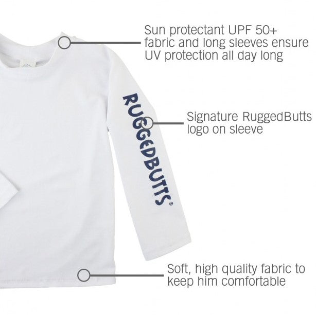 Rugged Butts White Long Sleeve Rash Guard Shirt