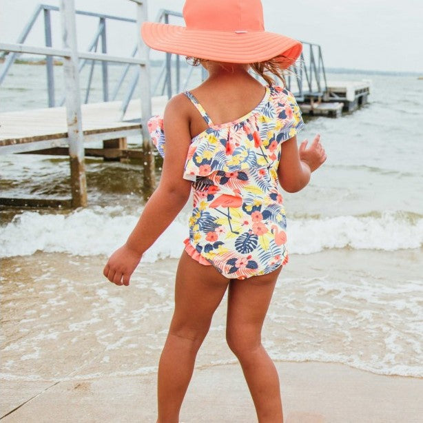 Ruffle Butts Tropical Flamingo One Shoulder Ruffle One Piece Swimsuit