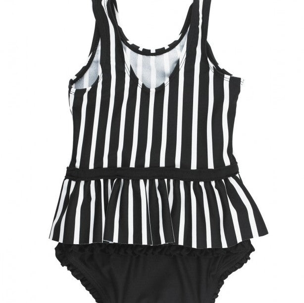 Ruffle Butts Black & White Stripe Skirted One Piece Swimsuit