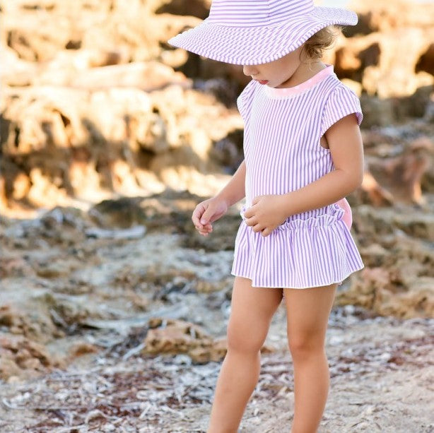 Ruffle Butts Lilac Seersucker Peplum One Piece Swimsuit