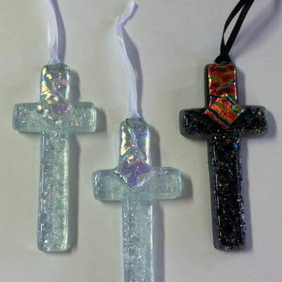 Beautiful Dichroic Glass Crosses Dichroic
