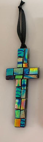 Dichroic Glass cross 4""