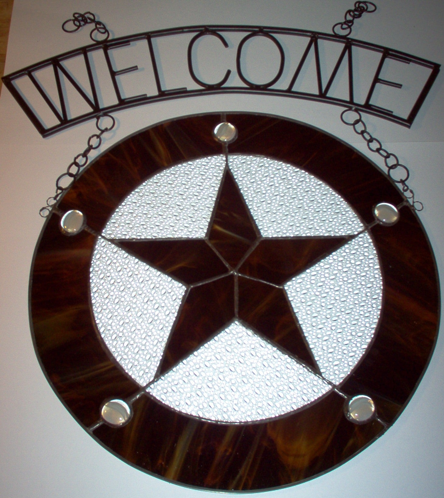 Wrought Iron Welcome Sign with or without Stained Glass Star Panel