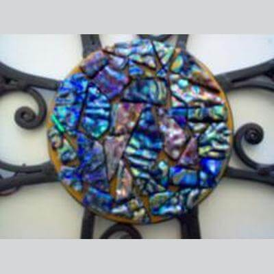 Wrought Iron With Dichroic Center Cross