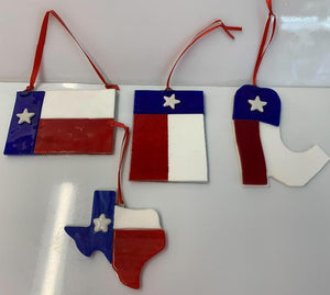 Texas Flag Fused Glass catchers