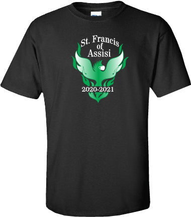 ST. FRANCIS OF ASSISI SPIRITWEAR- ADULT- GILDAN COTTON TEE- LIMITED EDITION PRINT