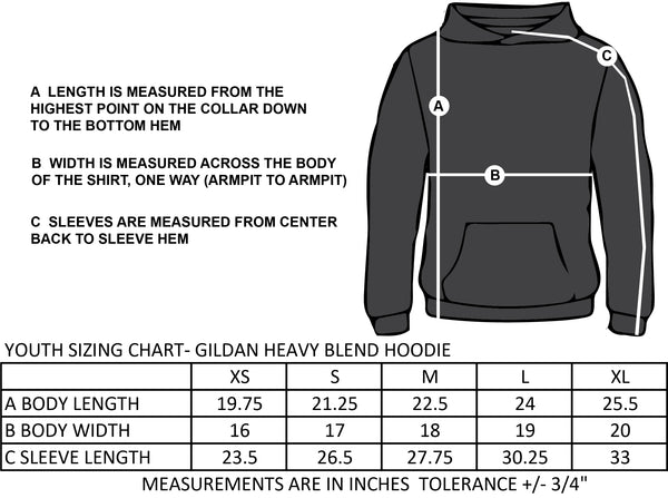 BROADVIEW SPIRITWEAR- TWILL- YOUTH- GILDAN HEAVY BLEND COTTON HOODIE