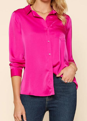 Hot Pink Button Down Top