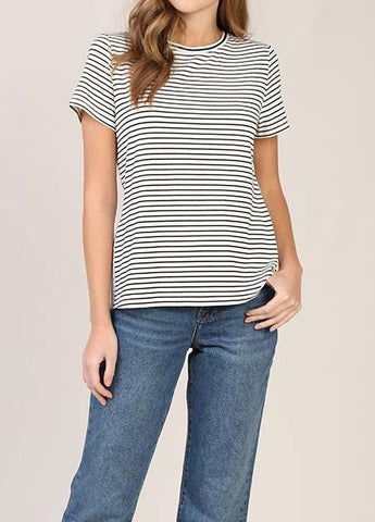 Eyelet Back Striped Tee