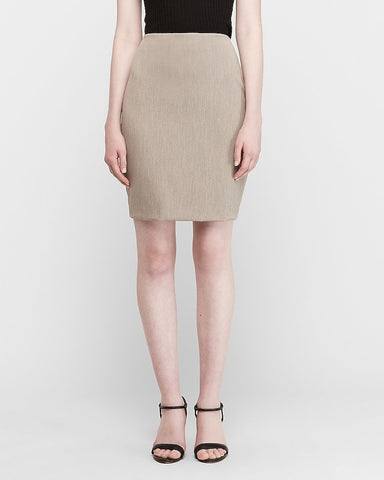 High Waisted Clean Pencil Skirt in Oatmeal Heather