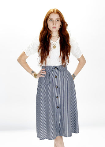Wolf Skirt In Fun Boy Three Navy Stripe