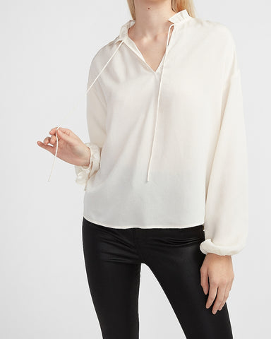 Textured Jacquard Ruffle Tie Neck Top in Ivory