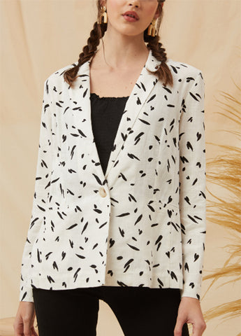 Lip Pocket Painterly Blazer
