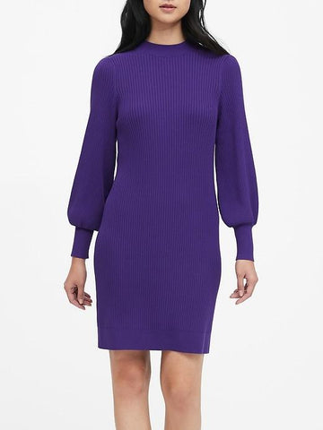 Puff-Sleeve Sweater Dress in Holiday Purple
