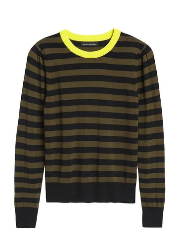 Merino Puff-Sleeve Sweater in Olive Green Stripe